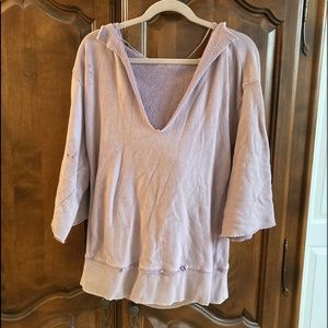 FREE PEOPLE Distressed Hooded Sweat Shirt